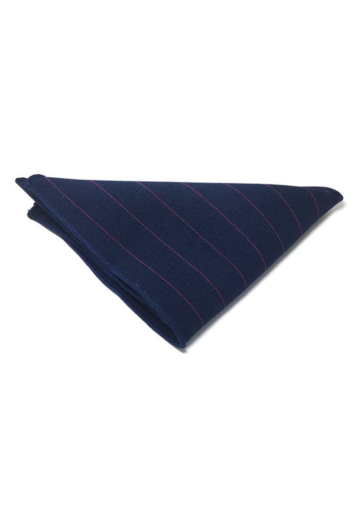 Bars Series Thin Purple Stripes Navy Blue Cotton Pocket Square