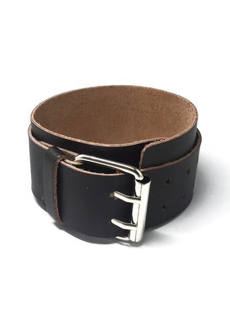 Gladiator Series Brown Real Leather Punk Bracelet