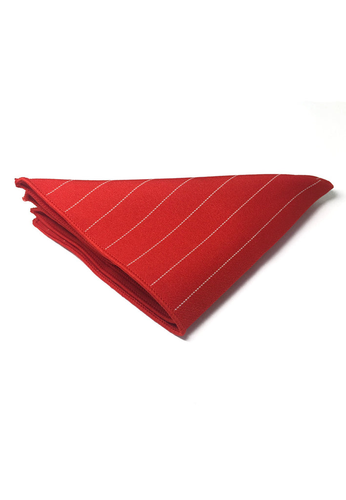 Bars Series Thin White Stripes Bright Red Cotton Pocket Square