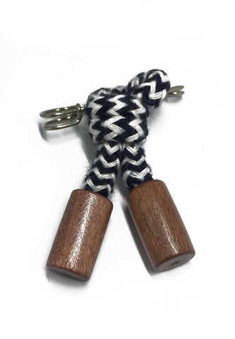 Dark Blue & White Nylon Rope Knot Lapel Pin