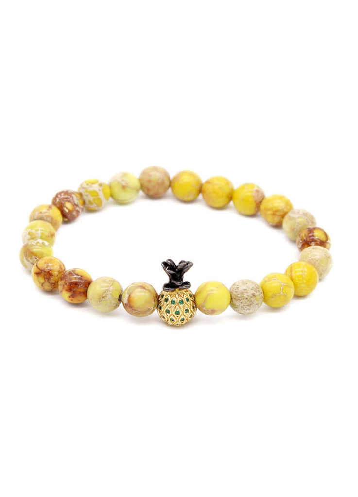 Masonry Series Yellow Natural Stone Beads Pineapple Head Bracelet