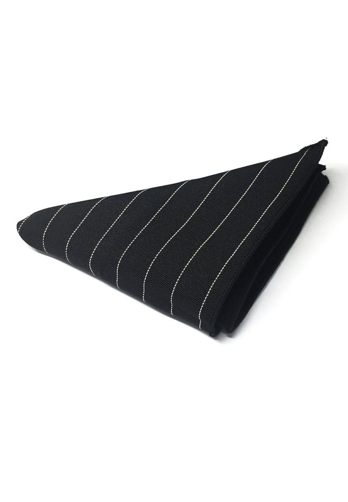 Bars Series Thin White Stripes Black Cotton Pocket Square