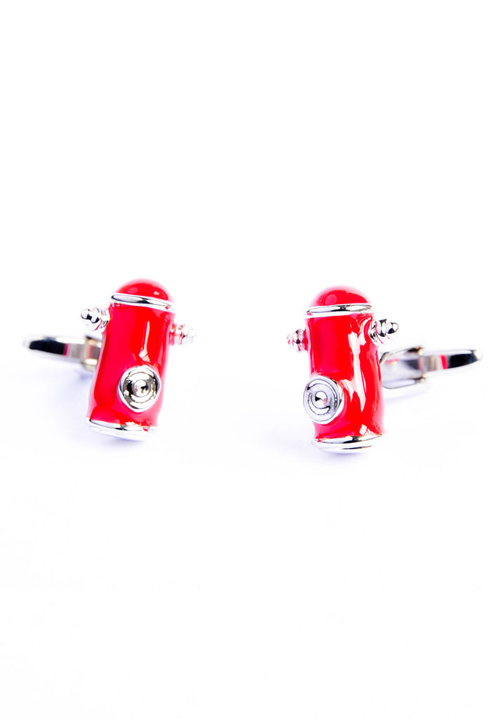 Red American Style Street Fire Hydrants Cufflinks