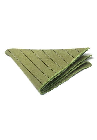 Bars Series Thin White Stripes Light Army Green Cotton Pocket Square
