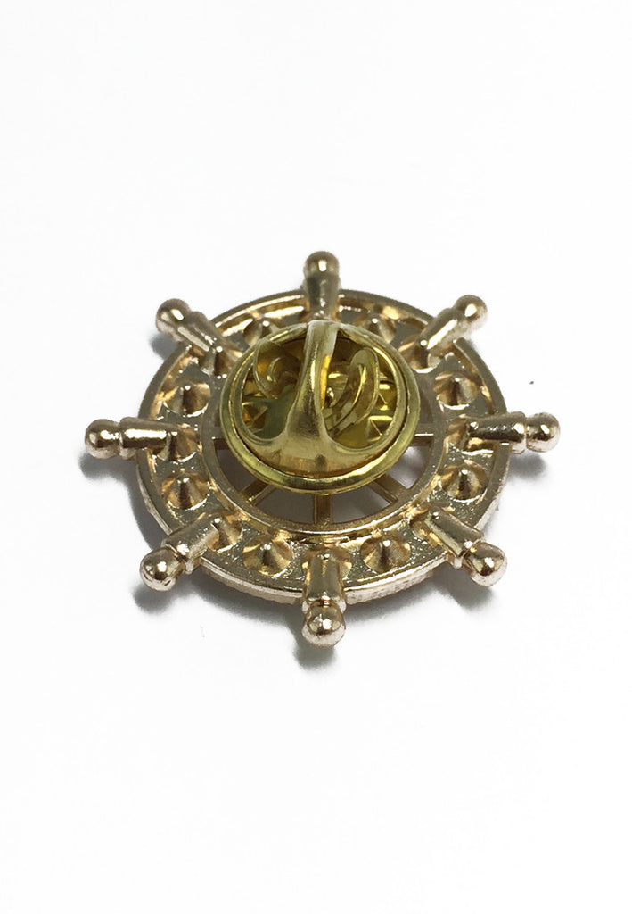 Diamond Studded Gold Ship Wheel Lapel Pin
