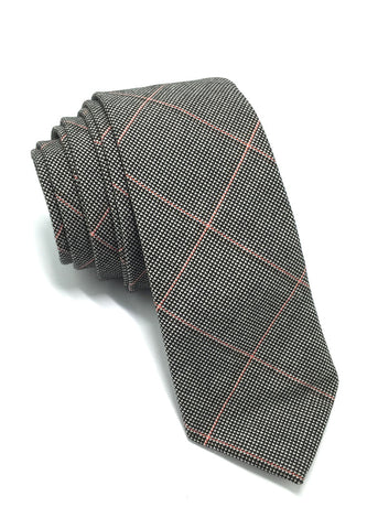 Daffy Series Grey Squares Skinny Viscose Tie