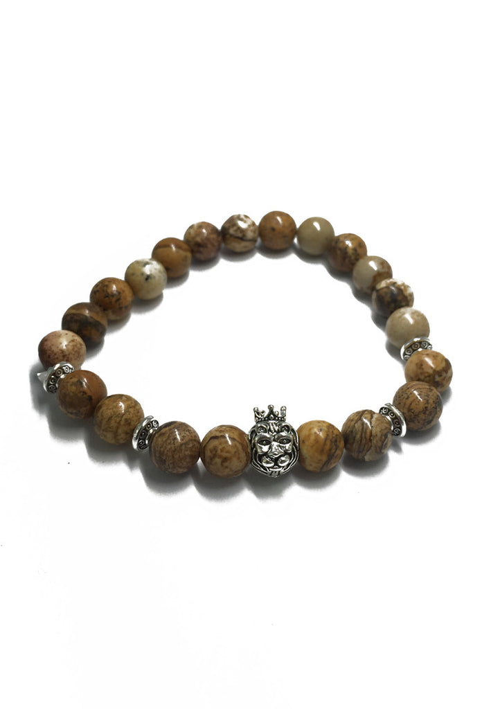 Masonry Series Yellow Natural Stone Beads Silver Lion Head Bracelet