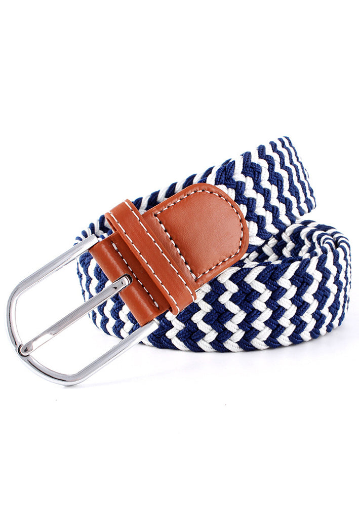 Entwine Series Dark Blue & White Braided Belts