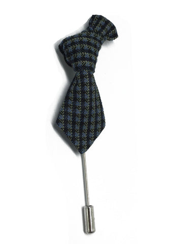 Black & Grey Checked Little Tie Lapel Pin