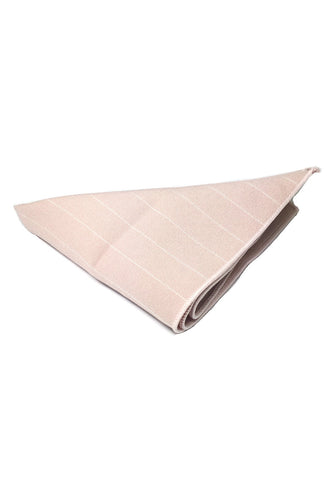Bars Series Thin White Stripes Pale Pink Cotton Pocket Square