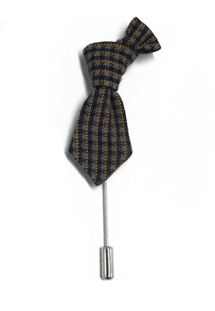Blue & Grey Checked Little Tie Lapel Pin
