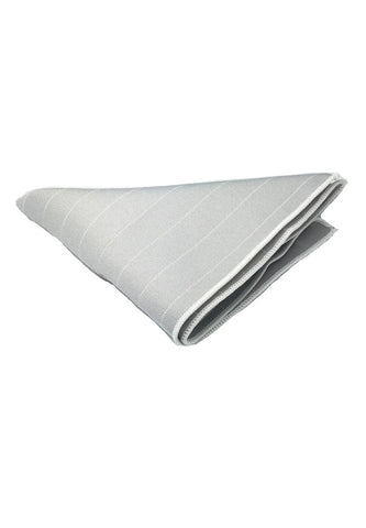 Bars Series Thin White Stripes Silver Grey Cotton Pocket Square
