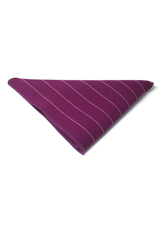 Bars Series Thin White Stripes Magenta Cotton Pocket Square