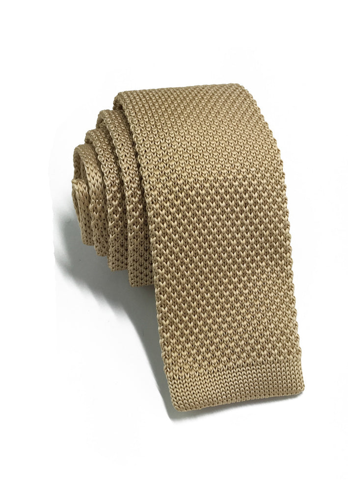 Interlace Series Golden Brown Knitted Tie