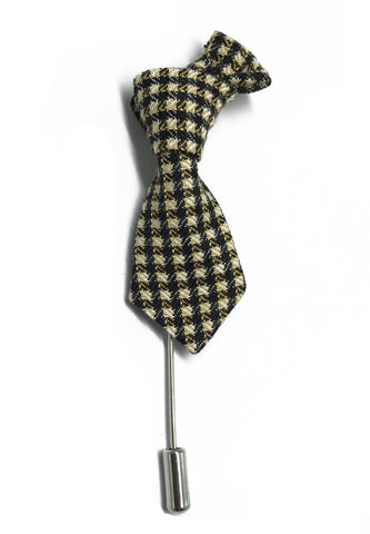 Black & Pale Yellow Checked Little Tie Lapel Pin