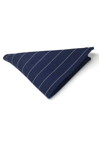 Bars Series Thin White Stripes Navy Blue Cotton Pocket Square