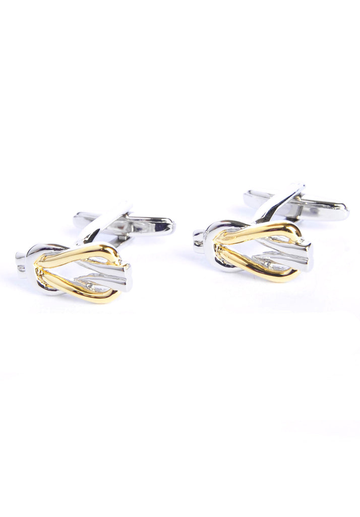 Two Tone Golden & Silver Reef Knot Cufflinks
