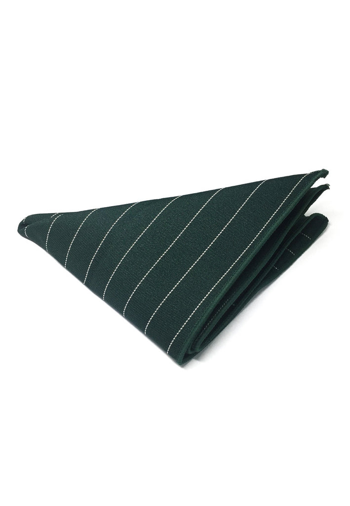 Bars Series Thin White Stripes Dark Green Cotton Pocket Square