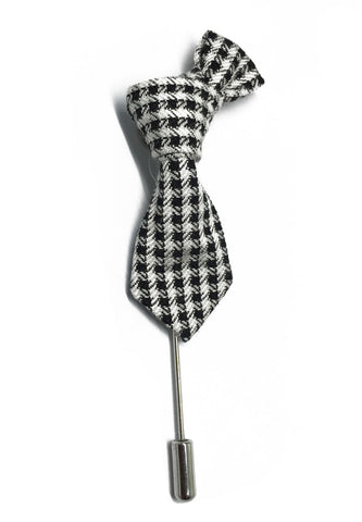 Black & White Checked Little Tie Lapel Pin