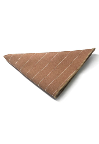 Bars Series Thin White Stripes Light Brown Cotton Pocket Square
