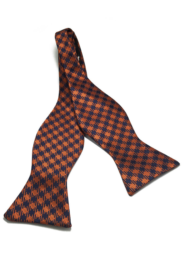 Manual Series Orange and Dark Blue Checked Design Self-tied Man Made Silk Bow Tie