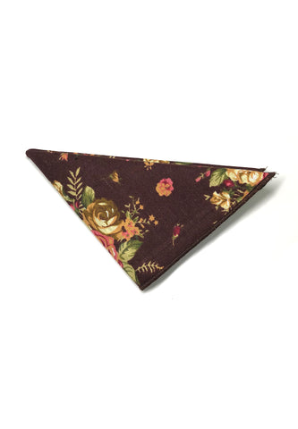 Blossom Series Floral Design Brown Pocket Square