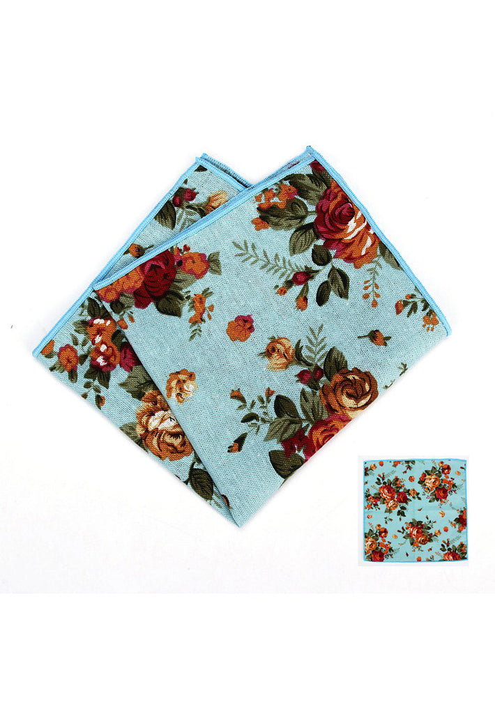 Blossom Series Floral Design Baby Blue Pocket Square
