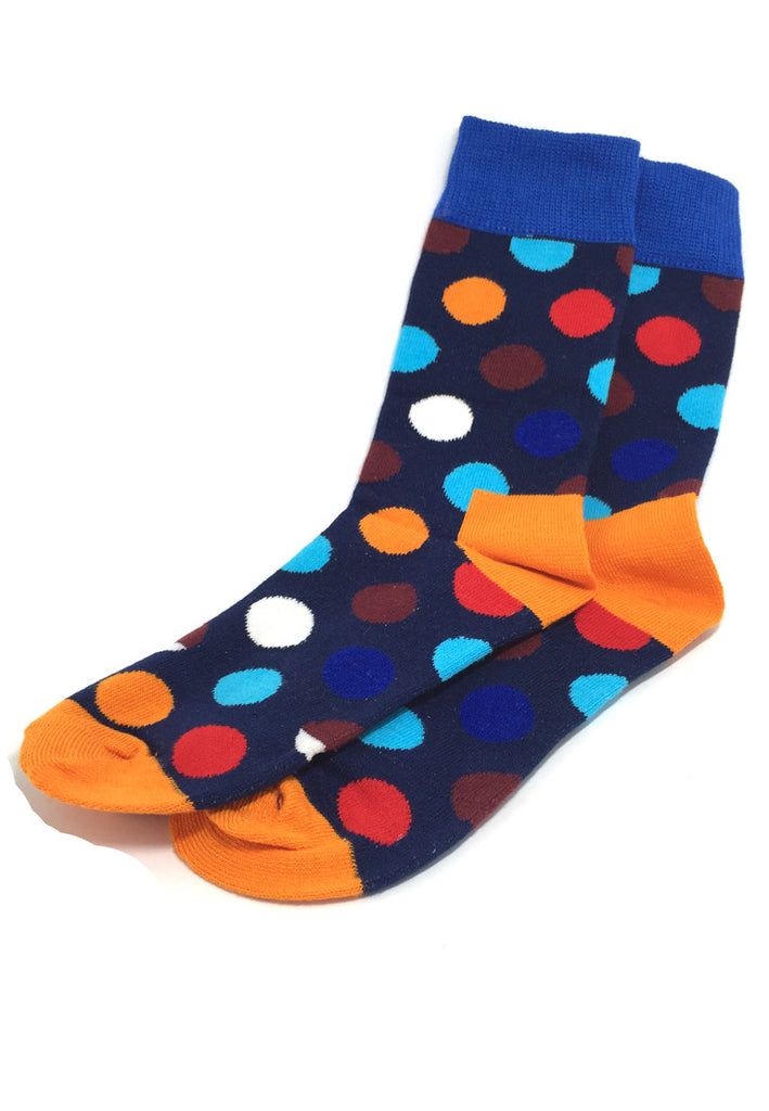Speckle Series Multi Colour Polka Dots Navy Blue and Orange Socks