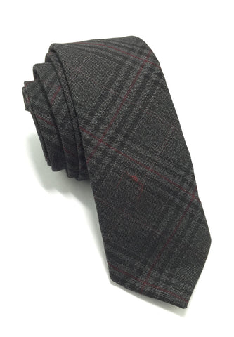 Daffy Series Black Tartan Skinny Viscose Tie