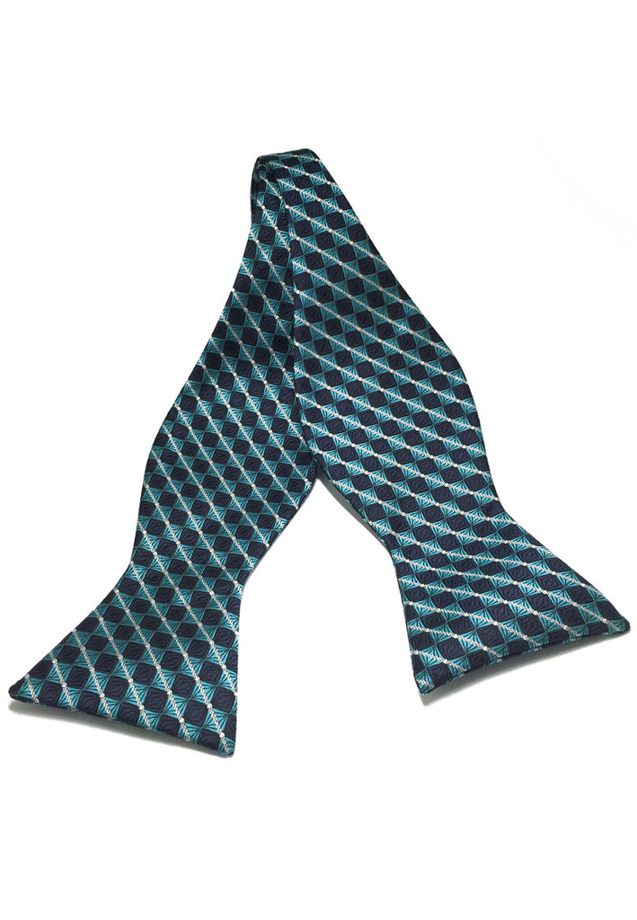 Manual Series Turquoise and Dark Blue Checked Design Self-tied Man Made Silk Bow Tie