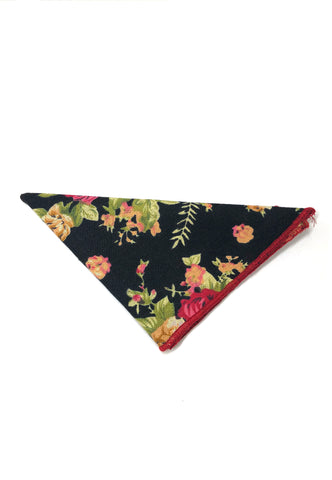 Blossom Series Floral Design Dark Blue Pocket Square