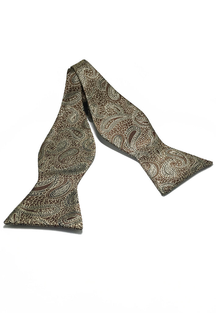 Manual Series Brown Batik Design Self-tied Man Made Silk Bow Tie