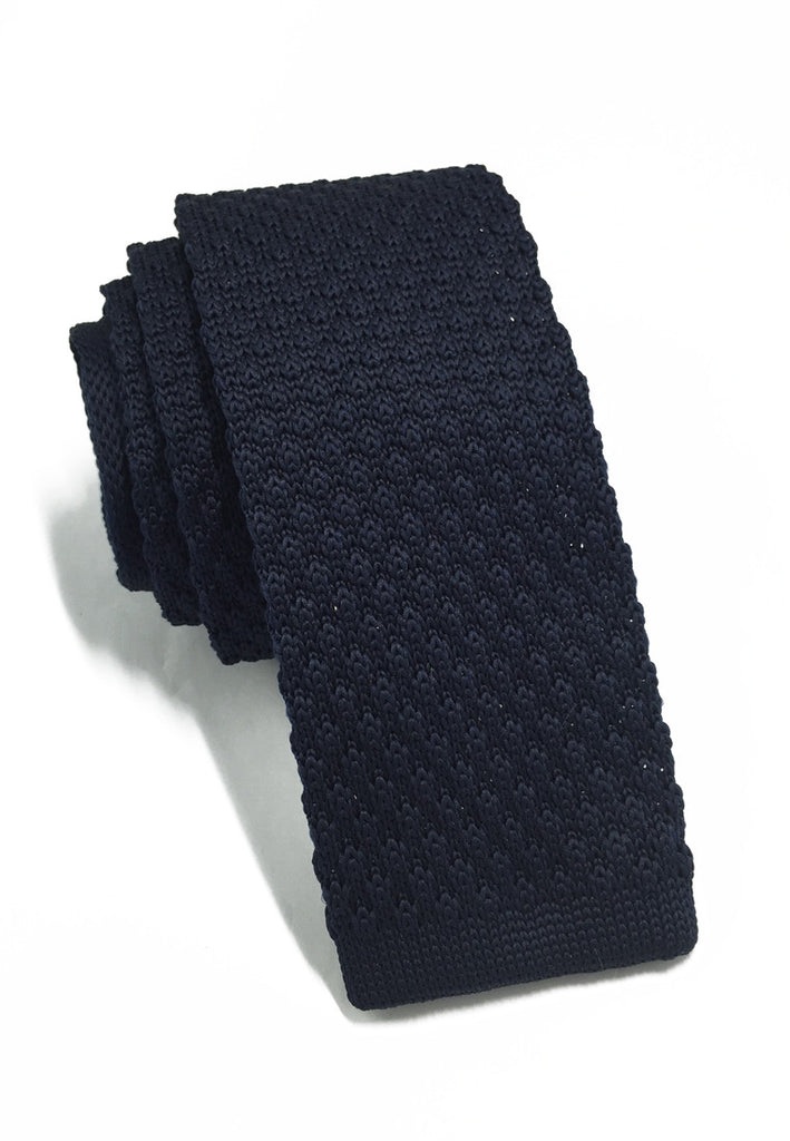 Interlace Series Navy Blue Knitted Tie