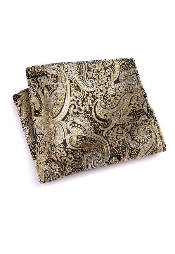 Noble Series Paisley Design Gold Pocket Square