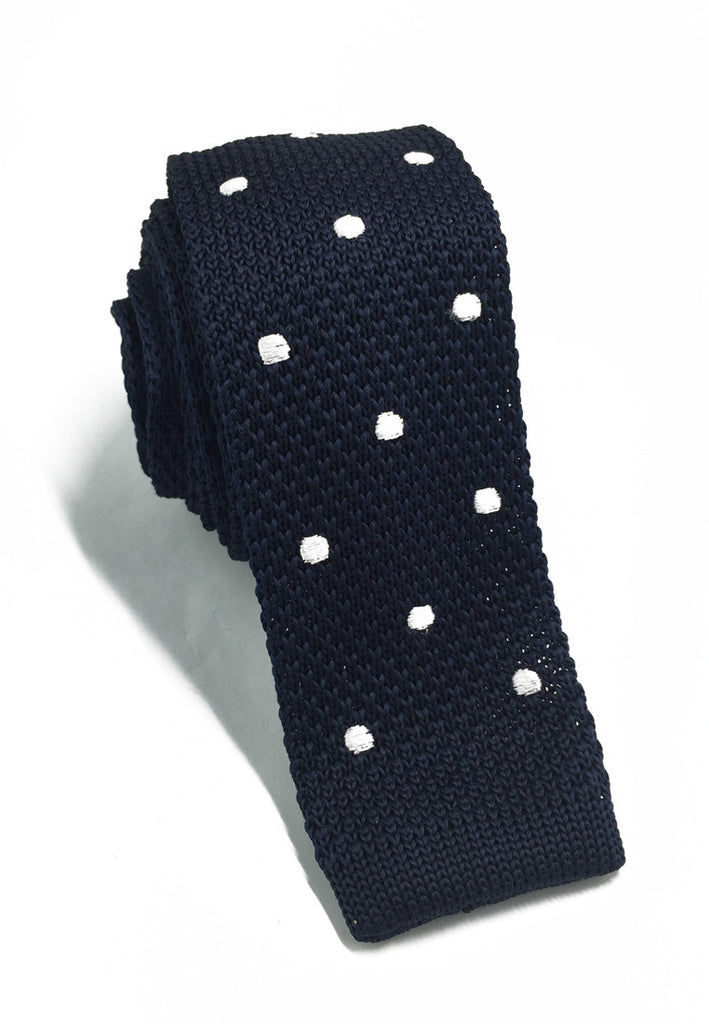 Weave Series White Polka Dots Navy Blue Knitted Tie
