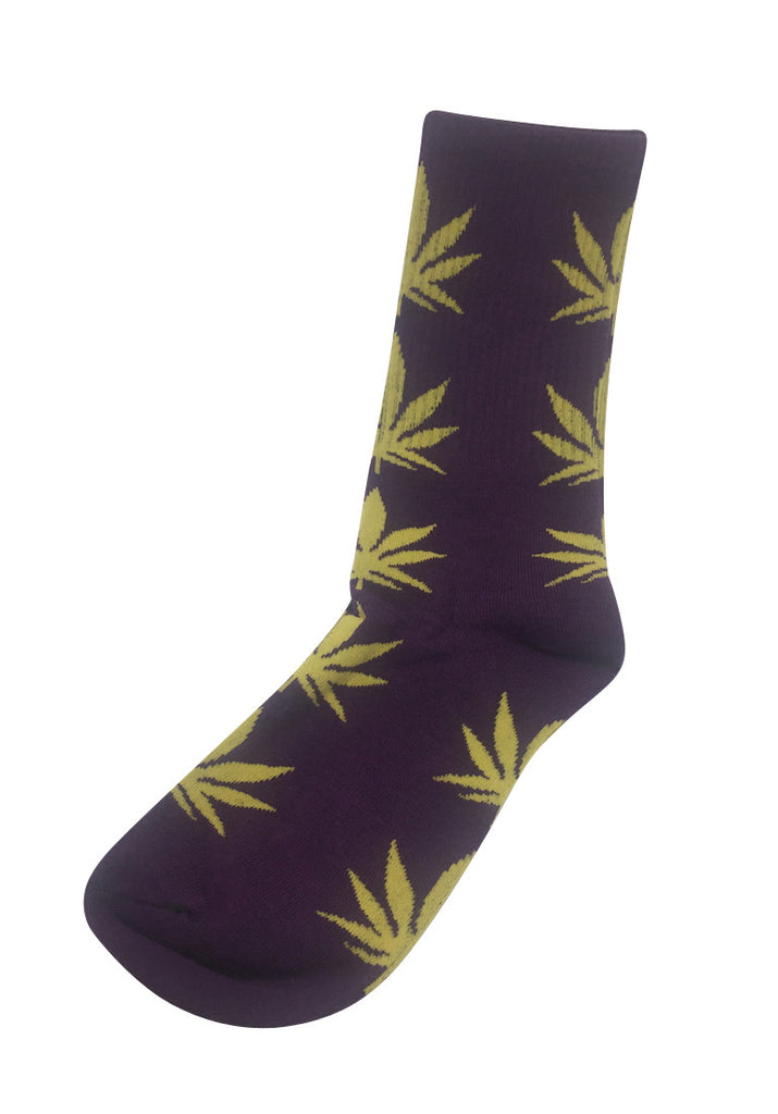 Glee Series Yellow Leaf Purple Socks