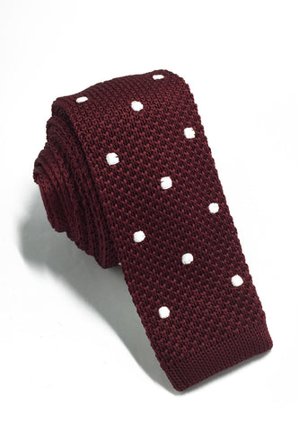 Weave Series White Polka Dots Plum Purple Knitted Tie