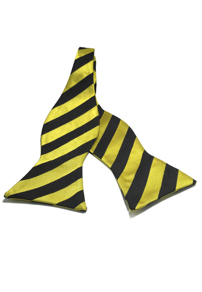 Manual Series Black Stripes Yellow Self-tied Man Made Silk Bow Tie