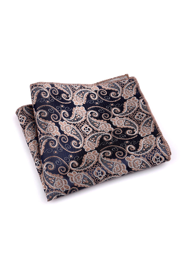 Noble Series Paisley Design Dark Blue Pocket Square