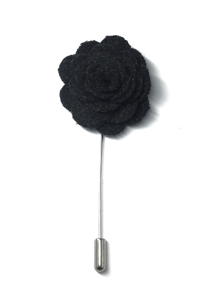Black Classic Camellia Fabric Flower Lapel Pin