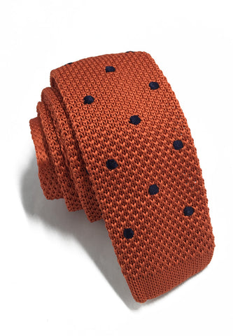 Weave Series Dark Blue Polka Dots Orange Knitted Tie