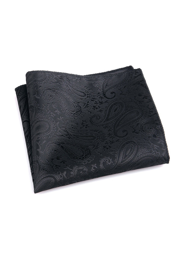 Noble Series Paisley Design Black Pocket Square