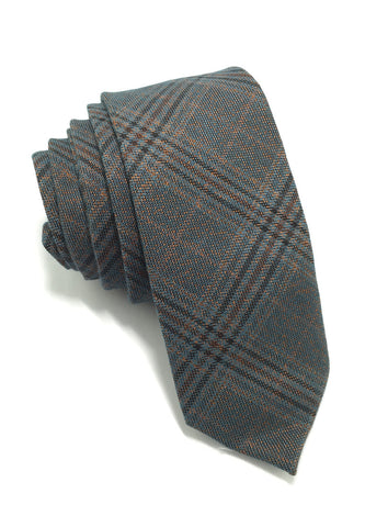 Daffy Series Grey Tartan Skinny Viscose Tie