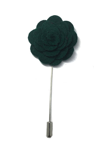 Dark Green Classic Camellia Fabric Flower Lapel Pin