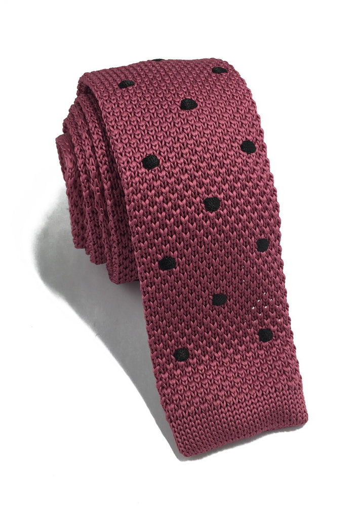 Weave Series Black Polka Dots Magenta Knitted Tie