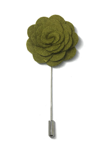 Army Green Classic Camellia Fabric Flower Lapel Pin
