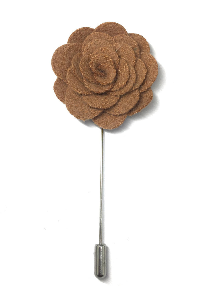 Apricot Classic Camellia Fabric Flower Lapel Pin