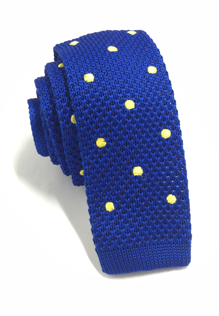 Weave Series Yellow Polka Dots Bright Blue Knitted Tie