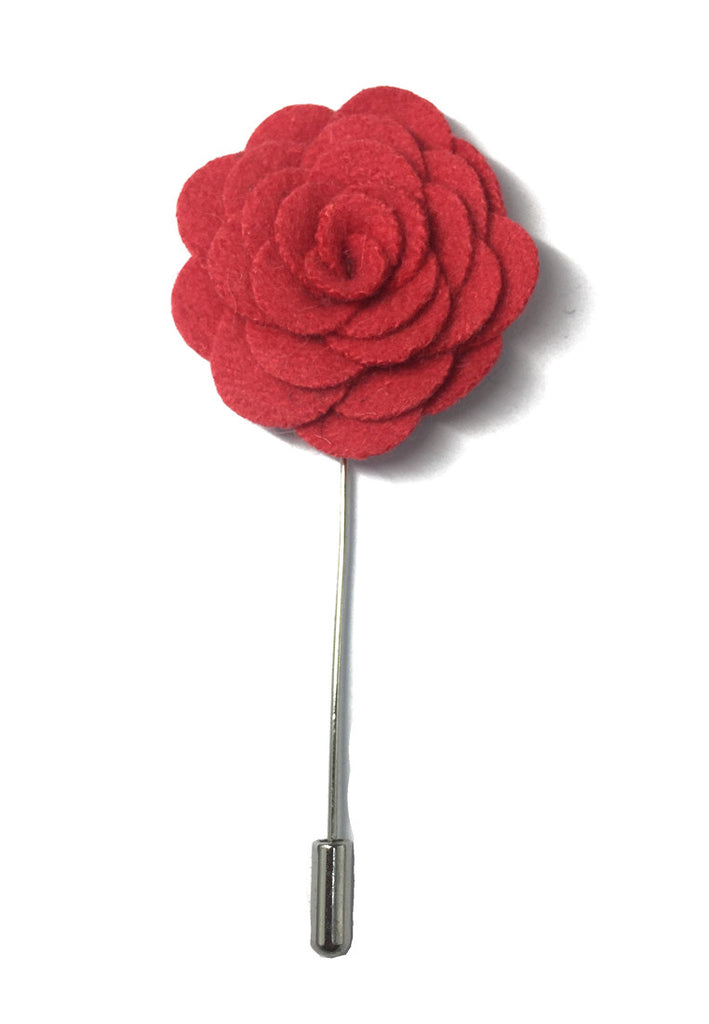 Raspberry Red Classic Camellia Fabric Flower Lapel Pin