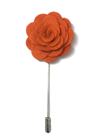 Orange Classic Camellia Fabric Flower Lapel Pin